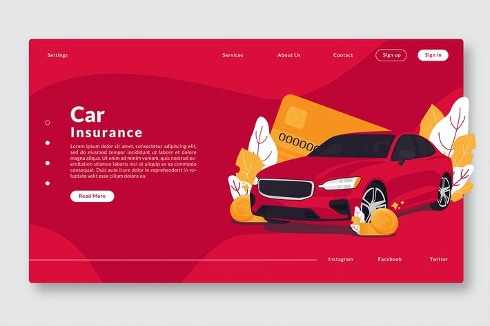 Thumbnail for Car Insurance - Web Header & Vector Template GR