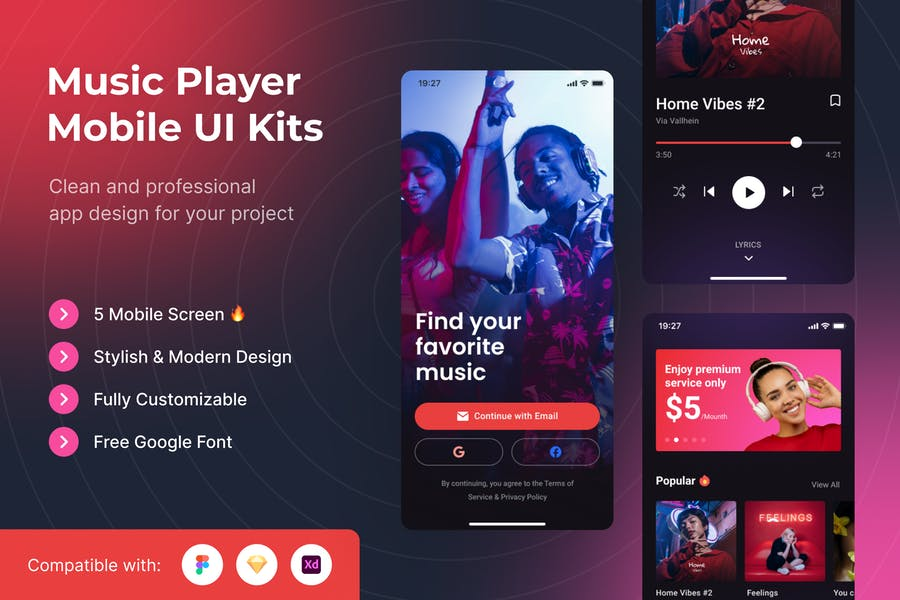 Music Player Mobile UI Kits Template
