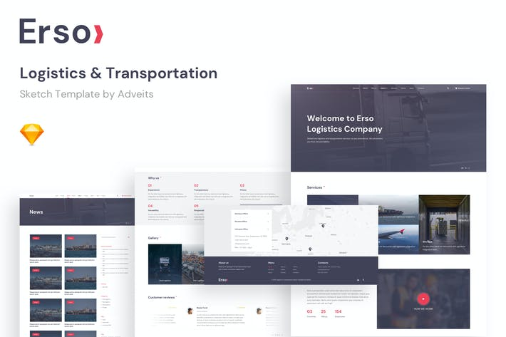 Thumbnail for Erso - Logistics & Transportation Sketch Template