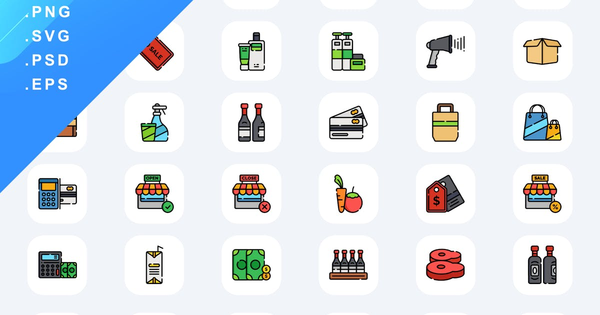 Download 60 Supermarket Icons by Guapoo
