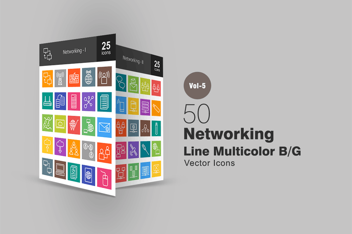 Thumbnail for 50 Networking Line Multicolor Icons