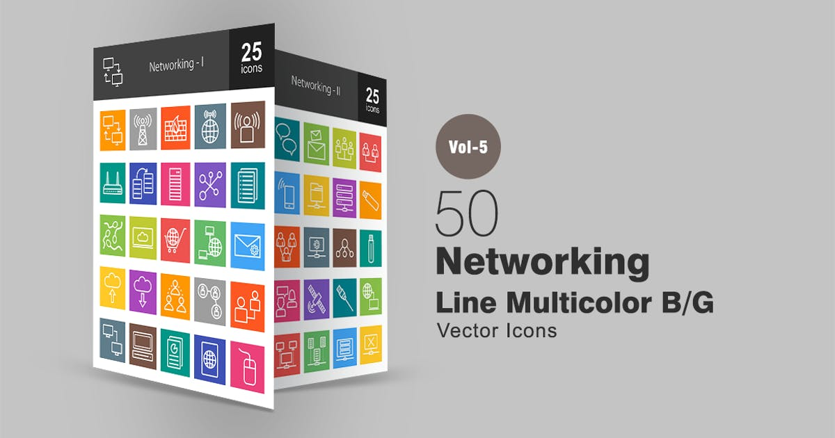 Download 50 Networking Line Multicolor Icons by IconBunny
