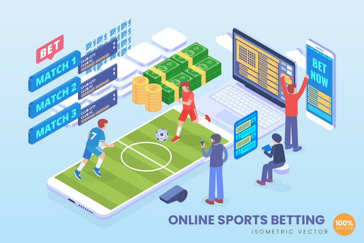 Thumbnail for Isometric Online Sports Betting Vector Concept