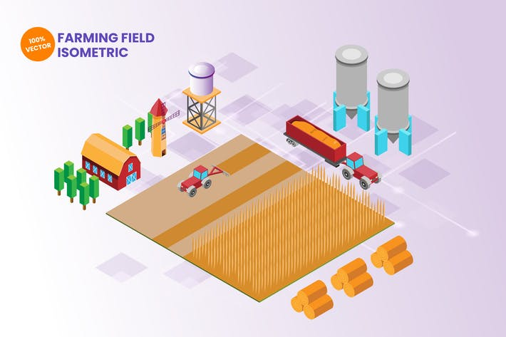 Thumbnail for Isometric Farming Field Vector Illustration