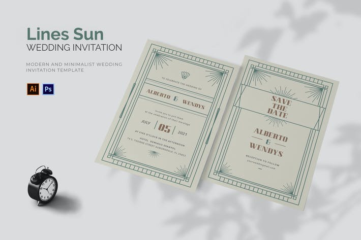 Thumbnail for Lines Sun - Wedding Invitation