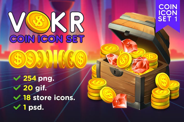 Thumbnail for VOKR - Gold Coin with Dollar Sign Icon Pack 1
