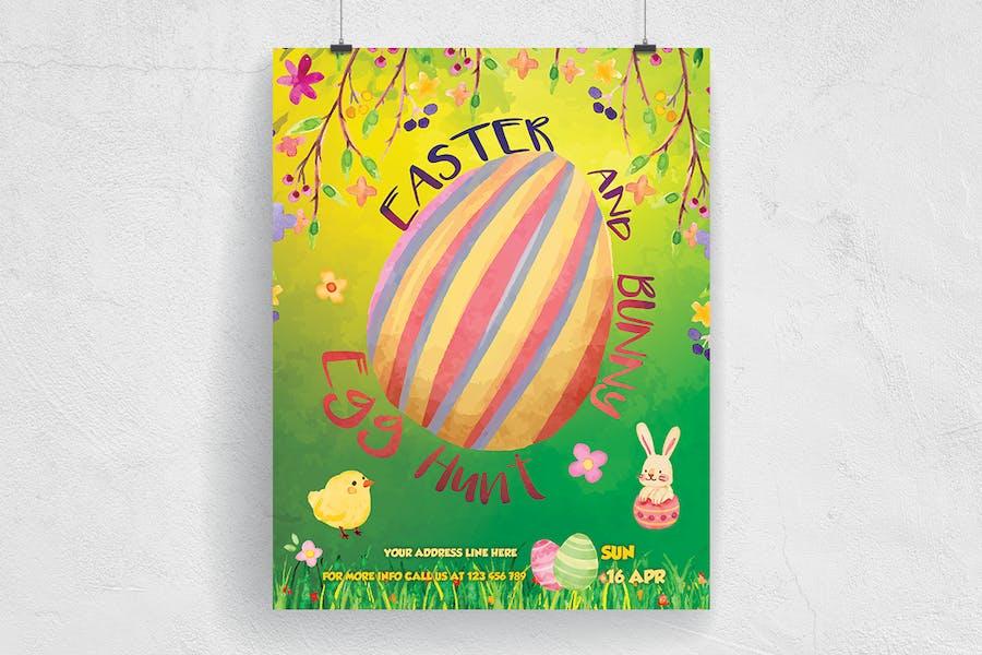 Easter and Bunny Egg Hunt Flyer