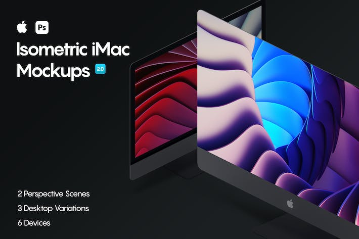 Thumbnail for Isometric iMac Mockup 2.0