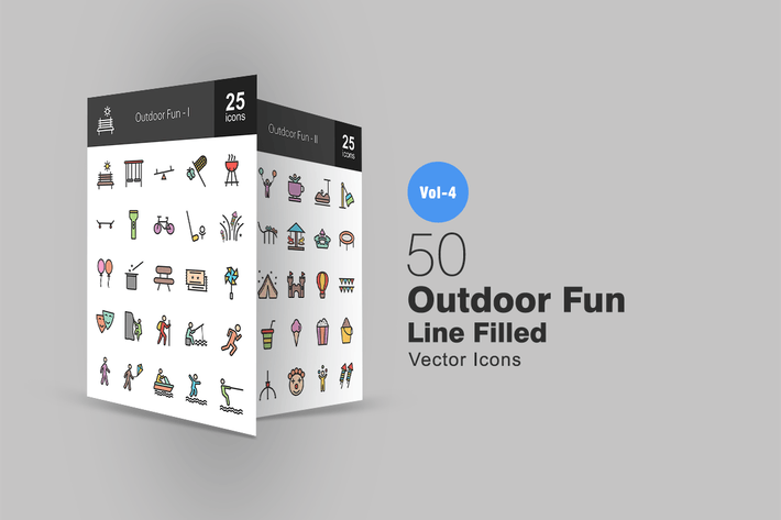 Thumbnail for 50 Outdoor Fun Line Filled Icons