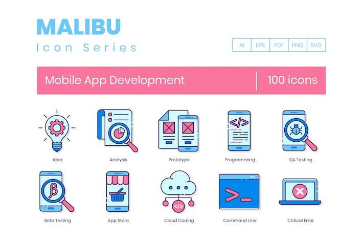 Thumbnail for 100 Icones de ligne de développement d'Appli mobiles