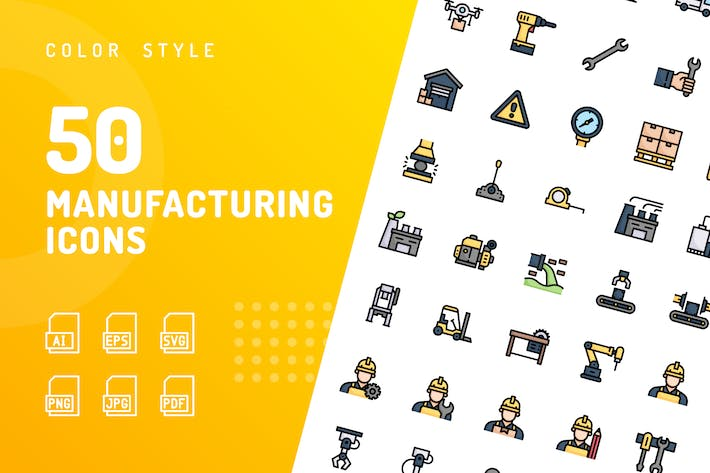 Manufacturing Color Icons