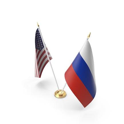 Настольные флаги США и России