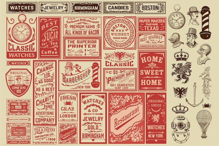 Vintage-Satz von Anzeigen-Layouts