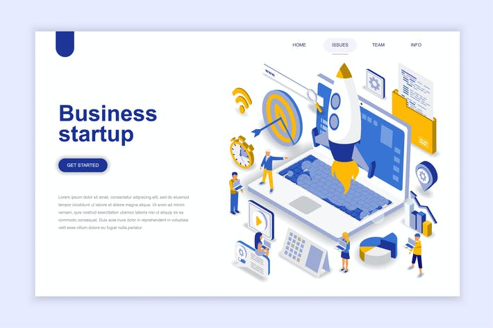 Cover Image For Business Startup Isometric Landing Page