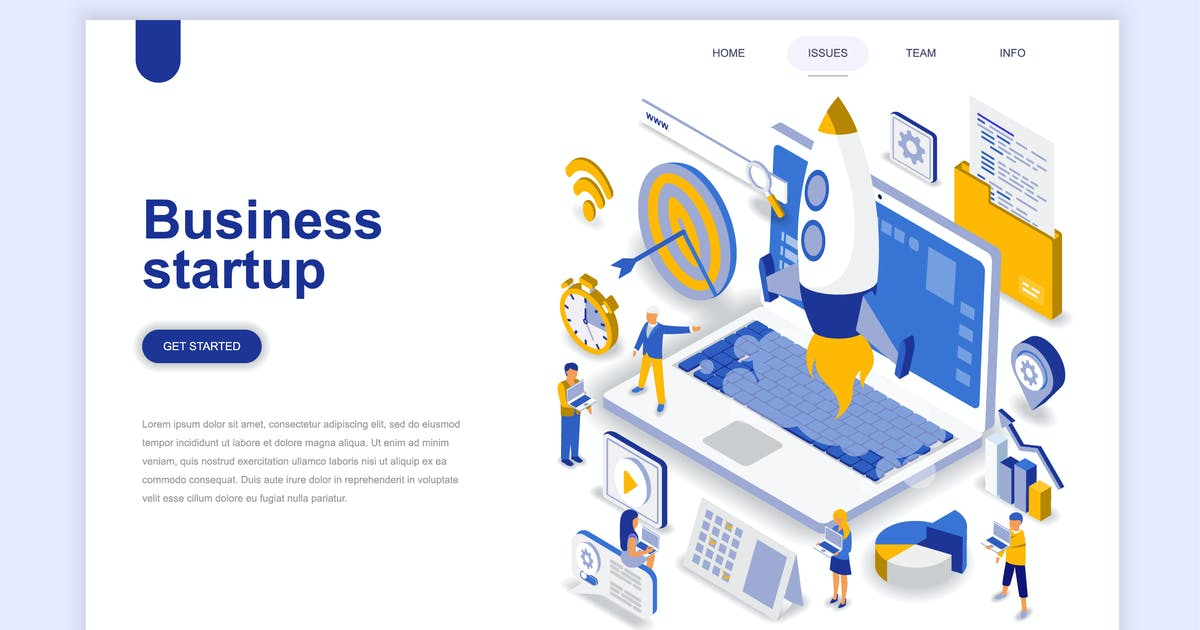 Download Business Startup Isometric Landing Page by alexdndz