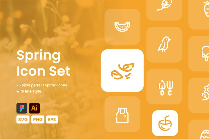 Thumbnail for Spring Line Icon Set