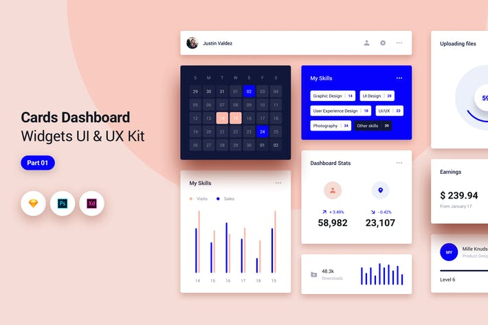 Cards Dashboard Widgets UI & UX Kit - 1