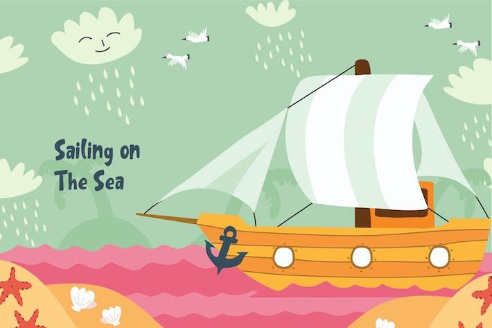Thumbnail for Sailing - Vector Illustration