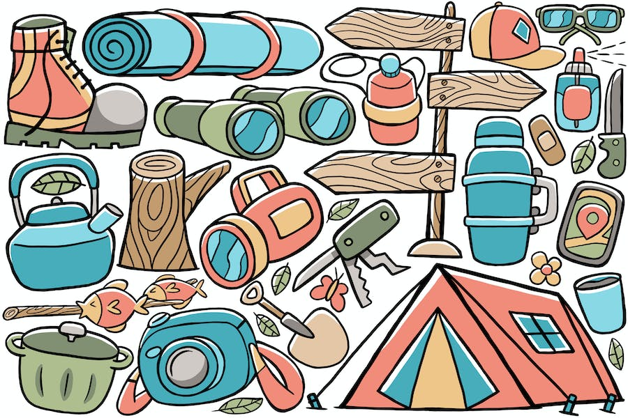 Camping Doodle Vector #02