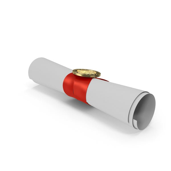 Degree Scroll Red Ribbon with Diploma Medal