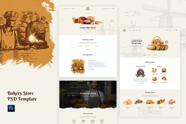 Thumbnail for Porus - Bakery Store PSD Template