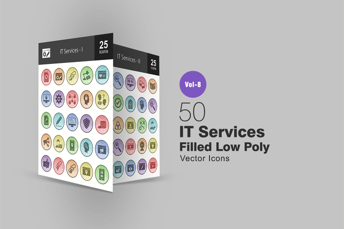 Thumbnail for 50 IT Services  Filled Low Poly Icons