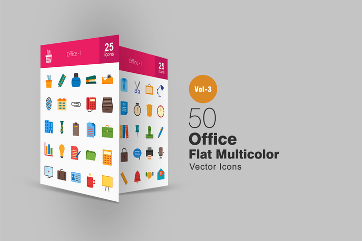 Thumbnail for 50 Office Flat Multicolor Icons