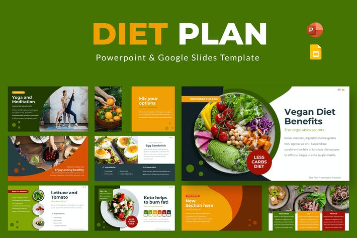 Диета План Powerpoint & Google Слайды Шаблон