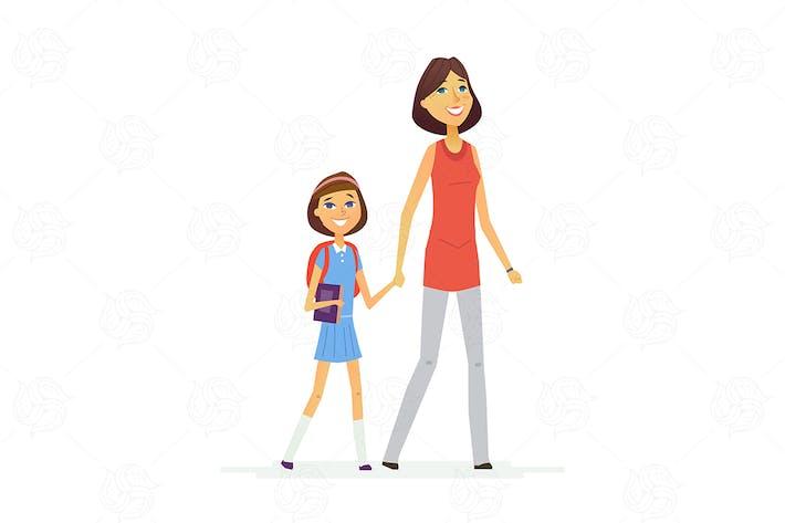 Walk To School - ilustración Vector