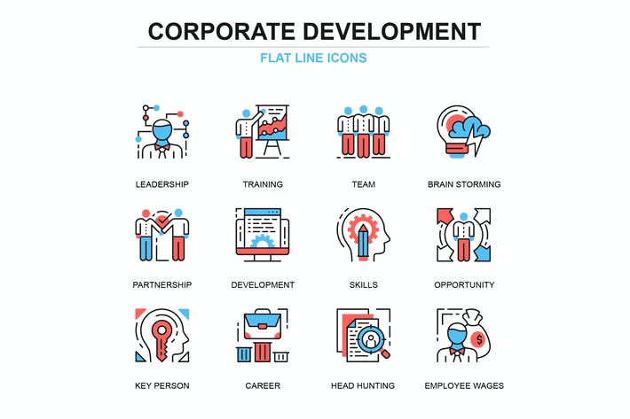 Thumbnail for Thin line corporate development icons set