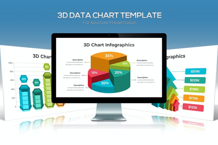 3D Data Chart For Keynote Presentation