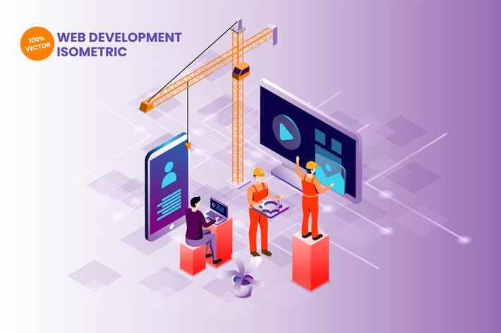 Thumbnail for Isometric Web Development Vector Illustration
