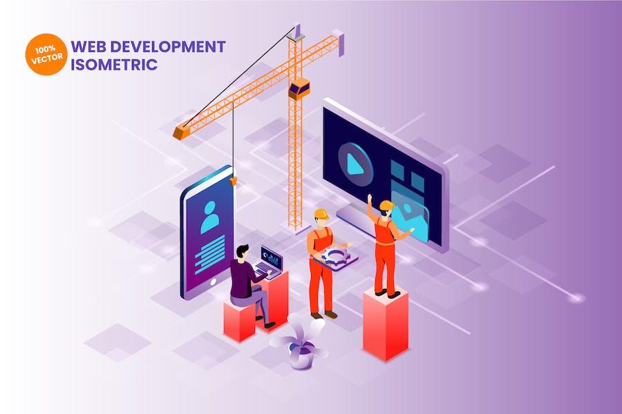 Isometrische WebentwicklungsVektor illustration