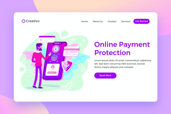 Cover Image For Online Payment Protection, Banking Landing Page