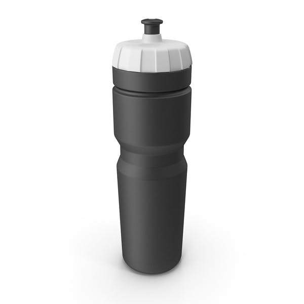 Black Sport Bottle with White Cap