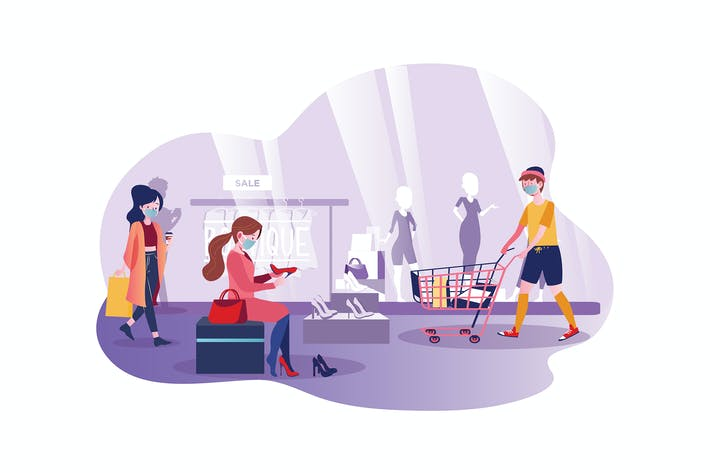 Thumbnail for People wearing mask shopping in the mall