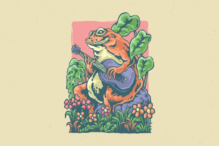 illustration of frog playing guitar design