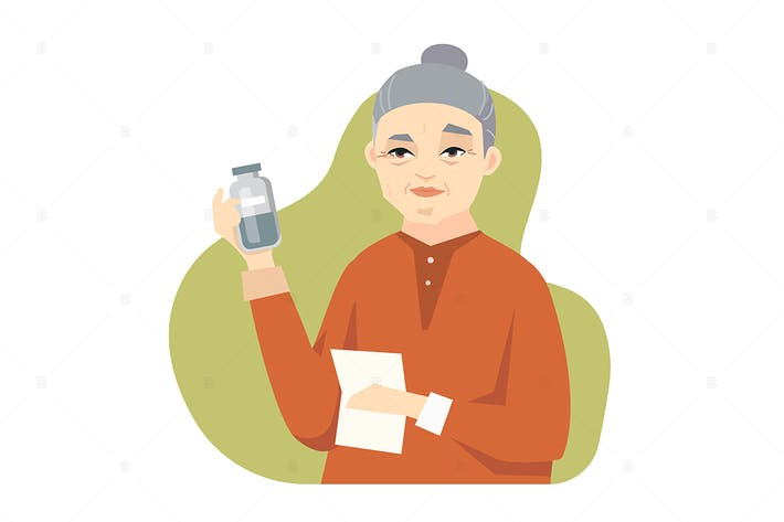 Senior Chinese woman taking medicine illustration