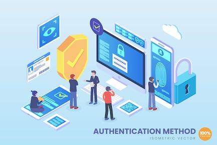 Isometrische Authentifizierungsmethode Vektor konzept