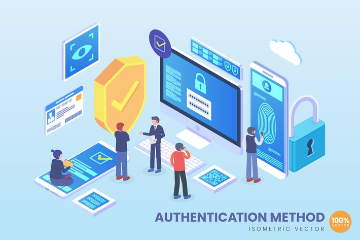 Thumbnail for Isometric Authentication Method Vector Concept