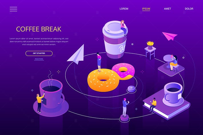 Thumbnail for Kaffeepause - modernes isometrisches WebBanner
