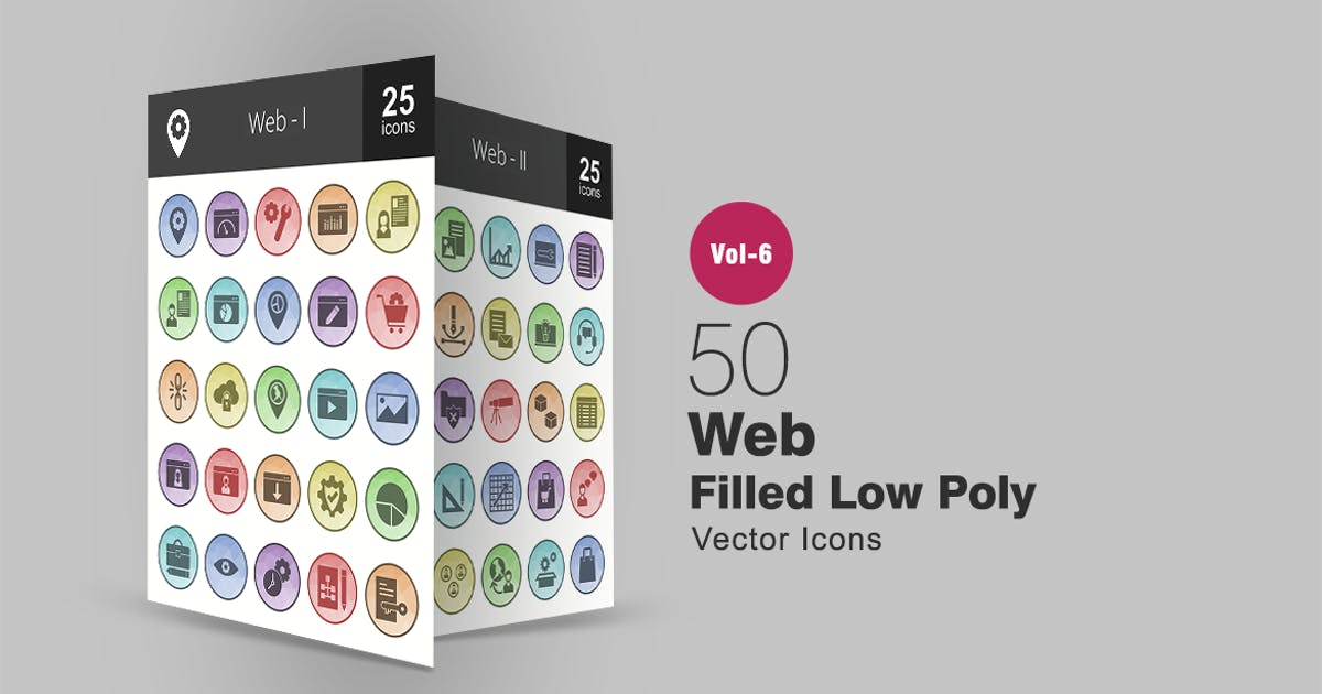Download 50 Web Filled Low Poly Icons by IconBunny