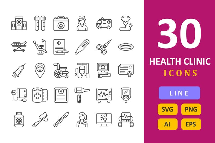 30 Health Clinic Icons - Line