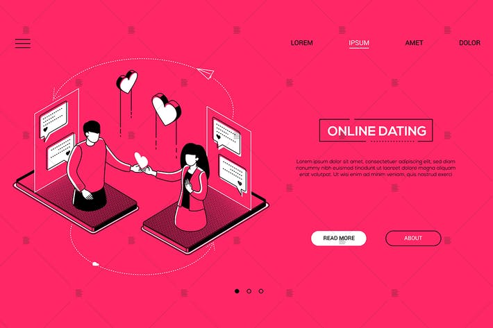 Thumbnail for Online dating - line design style isometric banner