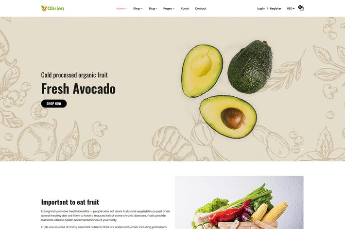 Thumbnail for Obrien – Organic Food HTML5 Template