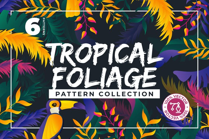 Cover Image For 6 Colorful Jungle Patterns