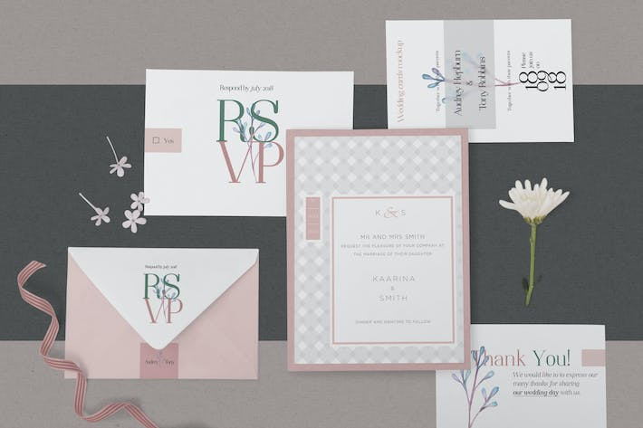 Thumbnail for Elegant Wedding Stationery Mockups