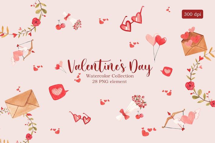 Aquarell-Sammlung zum Valentinstag