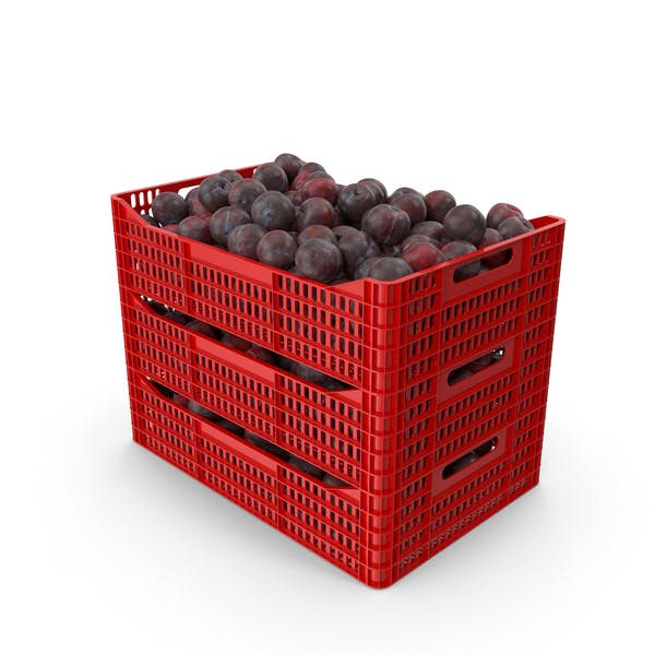Plums in Plastic Crates