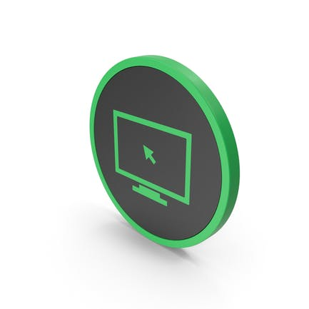 Icon Monitor With Arrow Green